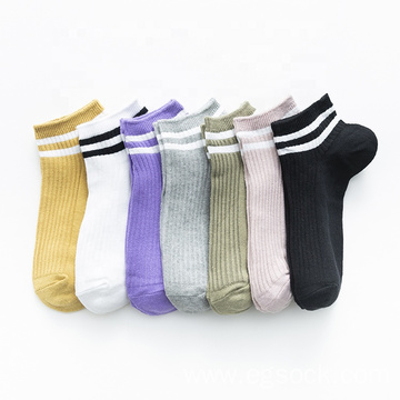 High quality eco-friendly thin stripe ankle boat socks